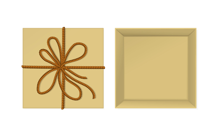 Vector kraft present box with rope