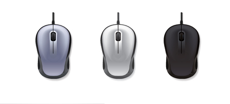 3 realistic computer mouse on white background. Vector illustration.