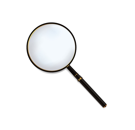 Isolated magnifying glass with black wood handle. Ilustração