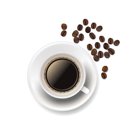 Coffee cup and coffee beans icon. Ilustração
