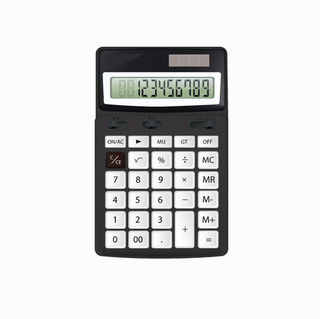 Realistic vector black calculator isolated on white background Ilustração