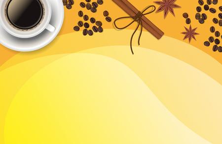 Christmas orange positive background with Xmas decoration - cinnamon, coffee
