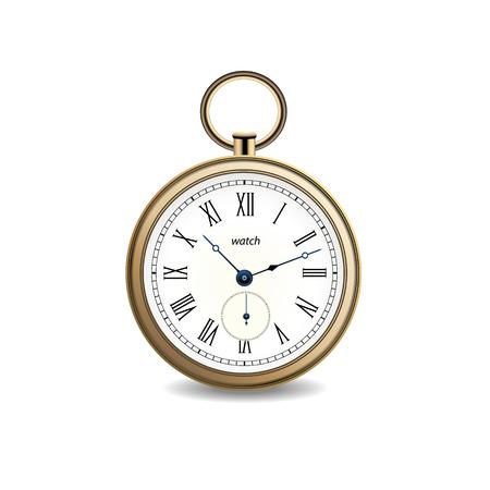 Relógio de ouro vetor vintage em fundo branco Foto de archivo - 89611774