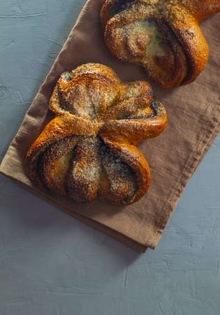 The buns with poppy seeds and sugar lie on the kitchen towel Imagens