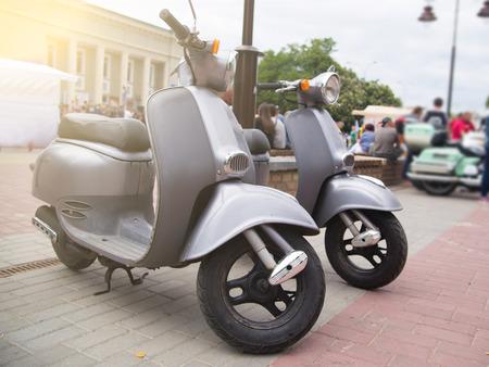 classic city motor bike on road