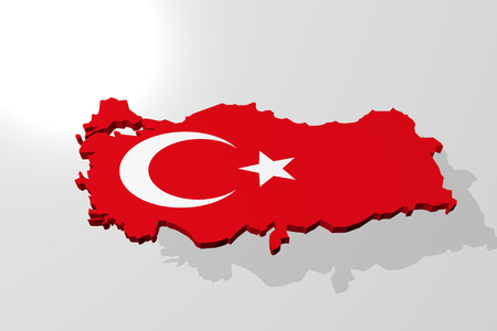 3d rendering of the map of Turkey