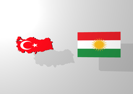 A 3d rendering of an map of turkey and a flag of kurdistan, on an white background with a light grey shadow