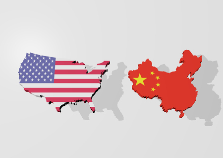 A 3d rendering from a map of USA and China in front of an light grey background with shadow