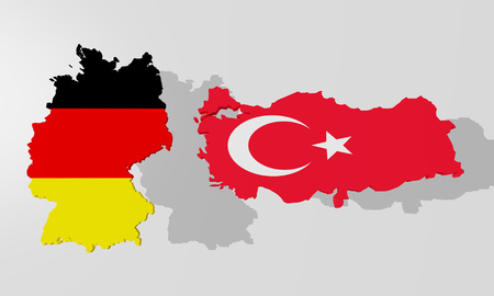A 3d render of a map of Germany and Turkey with a light gray background