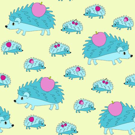 cartoon mushroom: Mom hedgehog and little hedgehogs go home and bear apples, cherries and mushrooms. Illustration