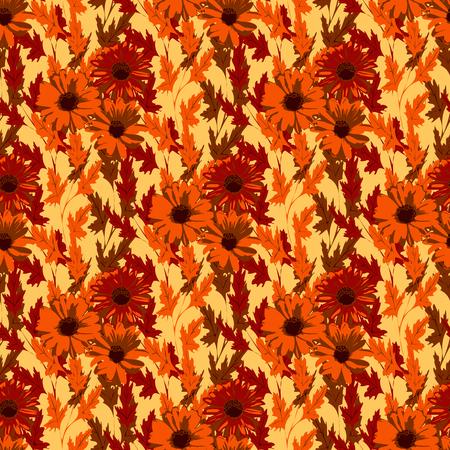 autumn flowers: Beautiful autumn flowers. Bright floral background, retro style. Illustration