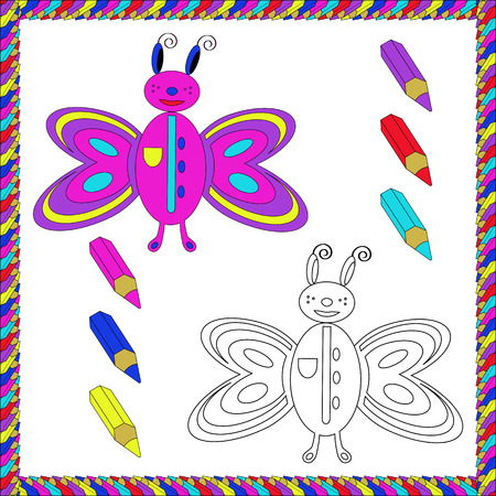 coloration: Coloring Book with insects butterfly. Vector illustration. Illustration