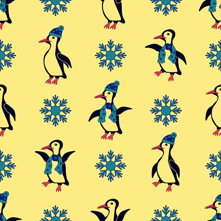 especially: Penguins dressed in winter hats and scarves. Especially when the snowflakes falling Illustration