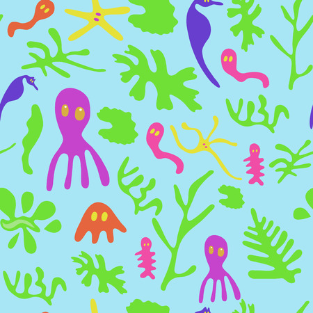 populated: The underwater world populated by seaweed, sea horses, jellyfish and other small animals and plants Illustration