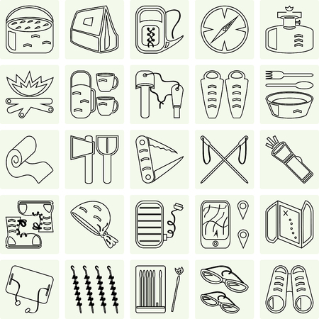 buff: travel and camping icons set on grey Illustration