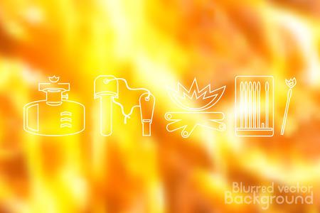 gasket: Fire icons set on flame fire background. Blurred vector illustration. Illustration