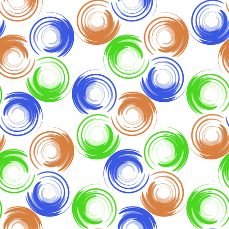 terracotta: Abstract geometric seamless pattern with colored circles and blur elements. Blue, green and terracotta circles Illustration