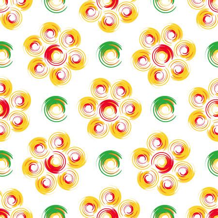 herbstblumen: Herbstblumen. Abstrakte geometrische nahtlose Muster mit farbigen Kreisen. Illustration