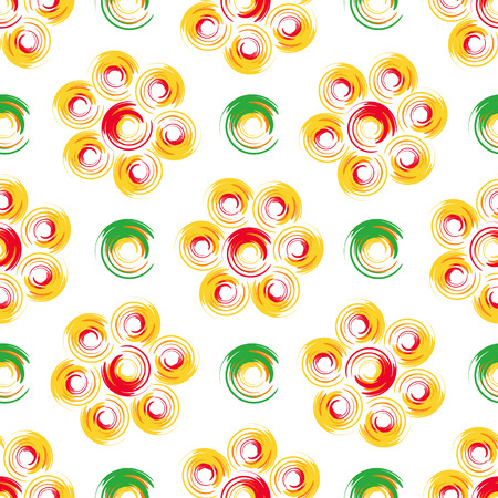 Autumn flowers. Abstract geometric seamless pattern with colored circles.