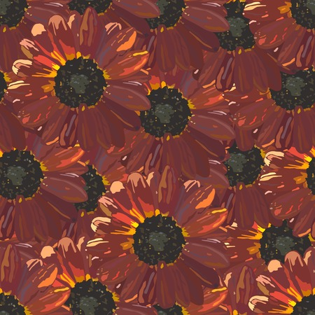 calendula flower: Seamless background with brown sunflowers. Vector illustration.