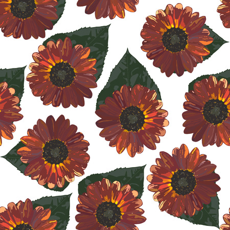 calendula flower: Seamless background with brown sunflowers and leaves. Vector illustration.