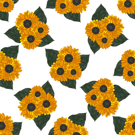 calendula: Seamless background with yellow sunflowers and leaves. Vector illustration. Illustration