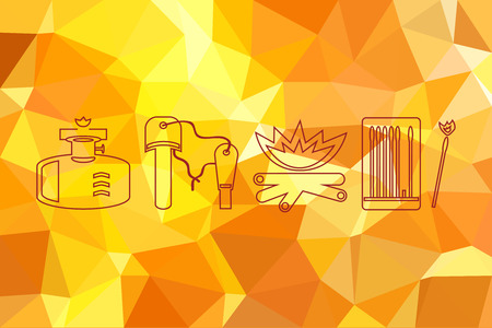 Fire icons set on flame fire background. Abstract geometric background with triangular polygons. Abstract smooth colorful illustration