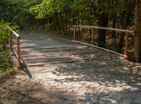 wooden bridge: Rustic wooden bridge leading to an orchard
