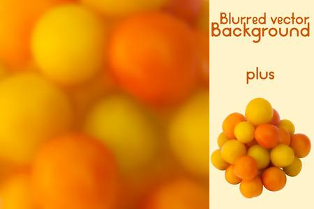 technics: Yellow cherry tomatoes. Blurred vector background and photo realistic yellow and orange tomatoes mesh technics