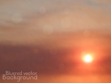 orange sunset: Orange sunset. Vector blurred background with lens flares. Abstract smooth colorful illustration