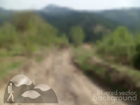 hiking trail: Vector nature blurred unfocused background. Road in the mountains. Hiking icon. Illustration