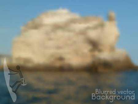 Vector nature blurred unfocused background. Rock in the ocean. Plus rock climbing icon.