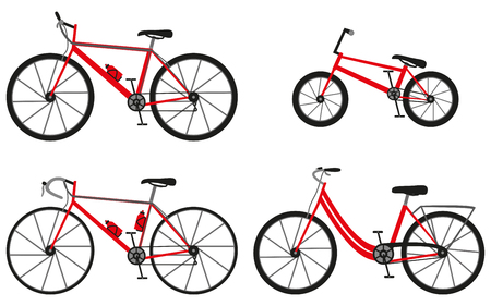 crosscountry: Four kinds of bicycles: mountain or cross-country bike, road bike, city bike and bmx bike. Vector illustration. Illustration