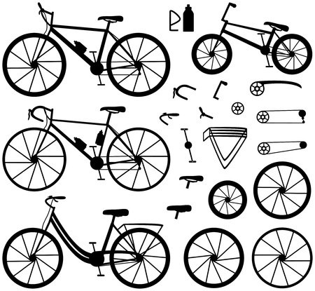 Four kinds of bicycles: mountain or cross-country bike, road bike, city bike and bmx bike. Bike accessories. Black silhouettes. Vector illustration.