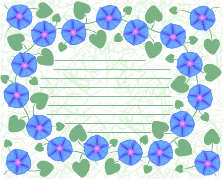 ipomoea: Postcard with branches of flower Ipomoea, morning glory. Vector illustration. Illustration