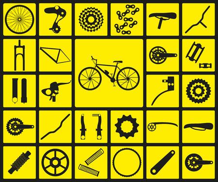 자전거 예비 부품의 검은 실루엣 아이콘의 집합입니다. 스물 일곱 아이콘, 인포 그래픽 요소입니다. 벡터 일러스트 레이 션