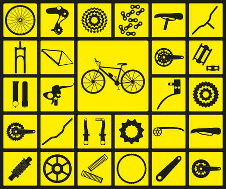 Set of black silhouette icons of bicycle spare parts. Twenty seven icons, infographic elements. Vector illustration