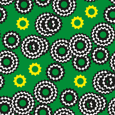 cogwheels: Varicolored cogwheels on the green background. Vector seamless pattern.