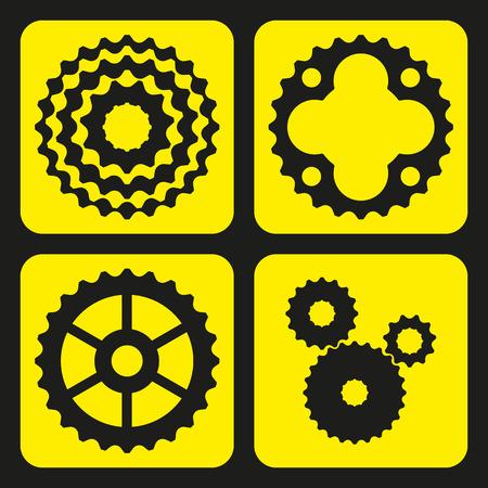 steering  wheel: Set of bicycle cogwheels or gear wheels. Vector illustration.
