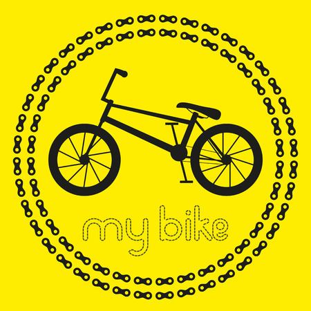 bmx bike: My BMX bike icon logo or label. Isolated Black Silhouette of bicycle in chain circles. Vector Illustration