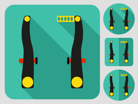 bike parts: Front rear brakes icon. Bike parts. Flat long shadow design. Bicycle icons series. Illustration