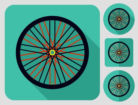 Wheel icon. Bike parts. Flat long shadow design. Bicycle icons series. Illustration