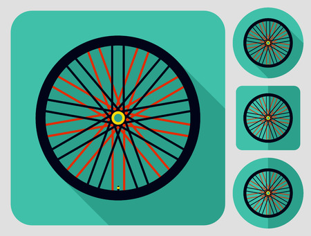 Wheel icon. Bike parts. Flat long shadow design. Bicycle icons series. Stock Illustratie
