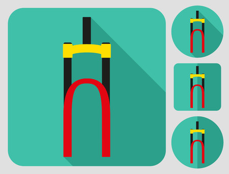 bike parts: Fork icon. Bike parts. Flat long shadow design. Bicycle icons series.