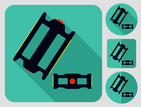 bike parts: Pedal icon. Bike parts. Flat long shadow design. Bicycle icons series. Illustration