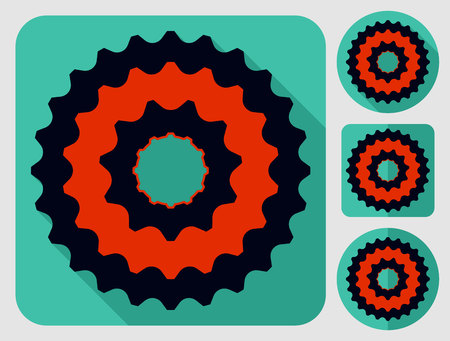 bike parts: Cassette icon. Bike parts. Flat long shadow design. Bicycle icons series.
