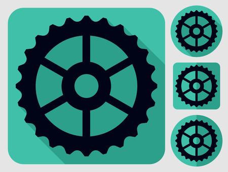 bike parts: Cogwheel icon. Bike parts. Flat long shadow design. Bicycle icons series. Illustration