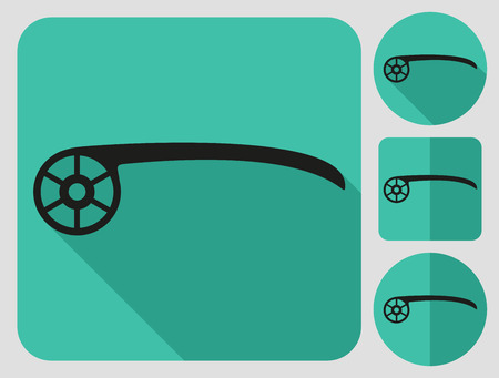 bike parts: Chainstay protector icon. Bike parts. Flat long shadow design. Bicycle icons series. Illustration