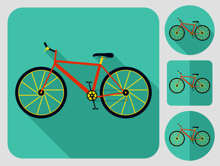 bike parts: Mountain cross country bike icon. Bike parts. Flat long shadow design. Bicycle icons series.
