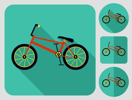 bmx bike: BMX bike icon. Flat long shadow design. Bicycle icons series.